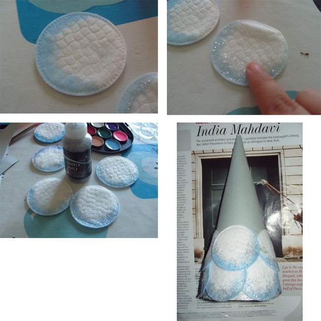 El yapımı pamuklu yün, pamuklu diskler ve kağıttan yapılmış el işleri
